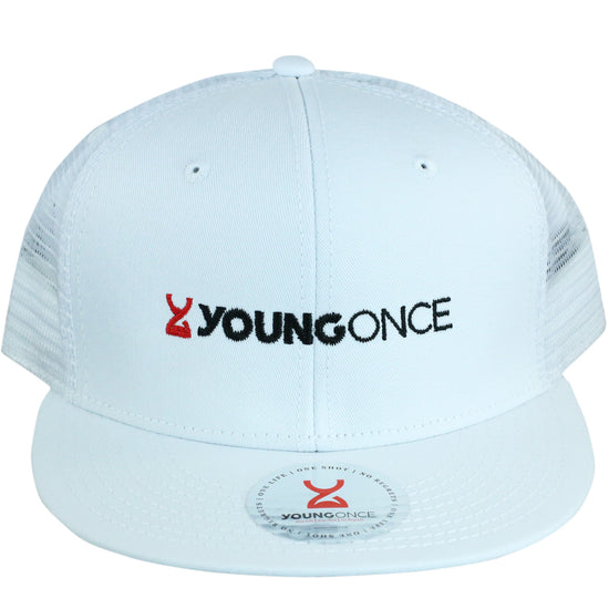 Young Once Embroidered Snapback Hat White front view