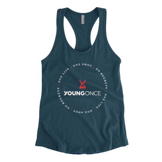 Ladies Young Once Circle Hourglass Racerback Tank Top Indigo
