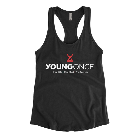 Ladies Young Once Hourglass Racerback Tank Top Black
