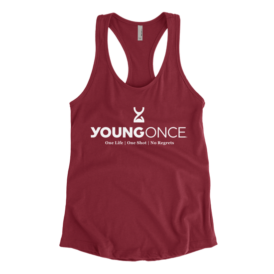 Ladies Young Once Hourglass Racerback Tank Top Scarlet