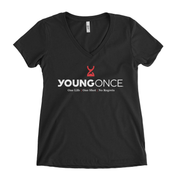 Ladies Young Once Hourglass V-Neck T-Shirt Black