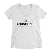 Ladies Young Once Hourglass V-Neck T-Shirt White