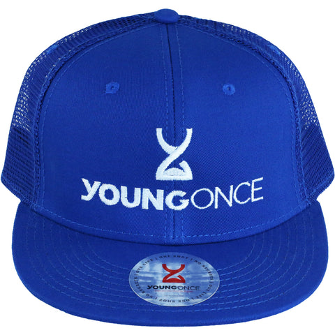 Young Once Embroidered Snapback Hat Blue front view