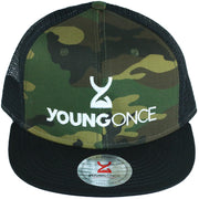 Young Once Embroidered Snapback Hat Black-Camo front view