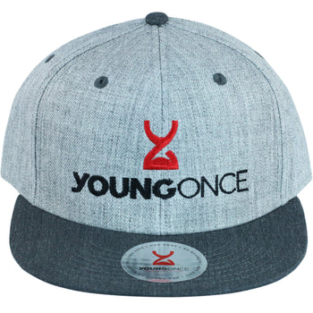 Young Once Embroidered Snapback Hat Gray front view