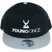 Young Once Embroidered Snapback Hat Gray-Black front view