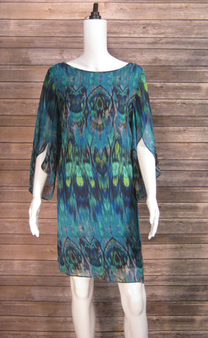 AGB Brand New Peacock Print Sheath Dress  Size 12