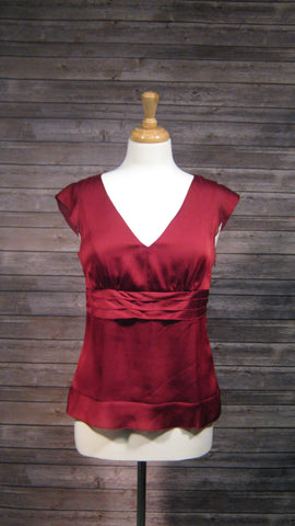 Ann Taylor Loft Burgundy Silky V-neck Blouse with Empire waist detail size 6