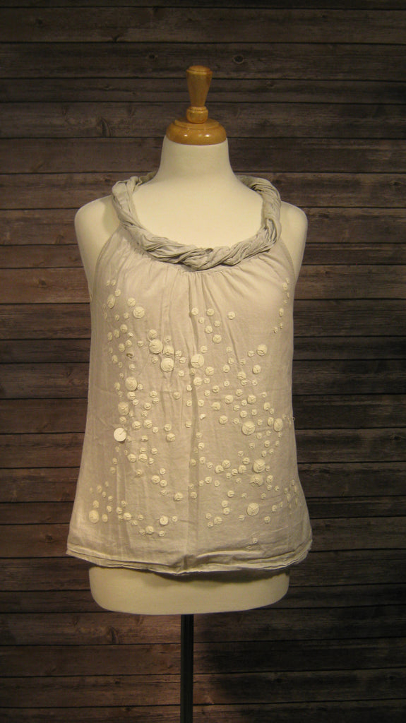 Ann Taylor Loft Sleeveless Gray Beaded Shirt Size Small