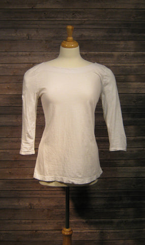 Ann Taylor Loft White 3/4 Sleeve Boat Neck Shirt Size Medium