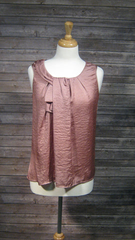 Ann Taylor Loft Antique Rose Metallic Sleeveless Shirt Size Medium