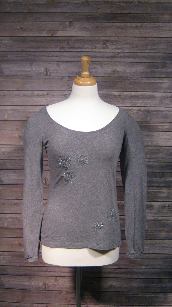 Ann Taylor Loft Gray Crystal Beaded Long Sleeve Shirt Size Small
