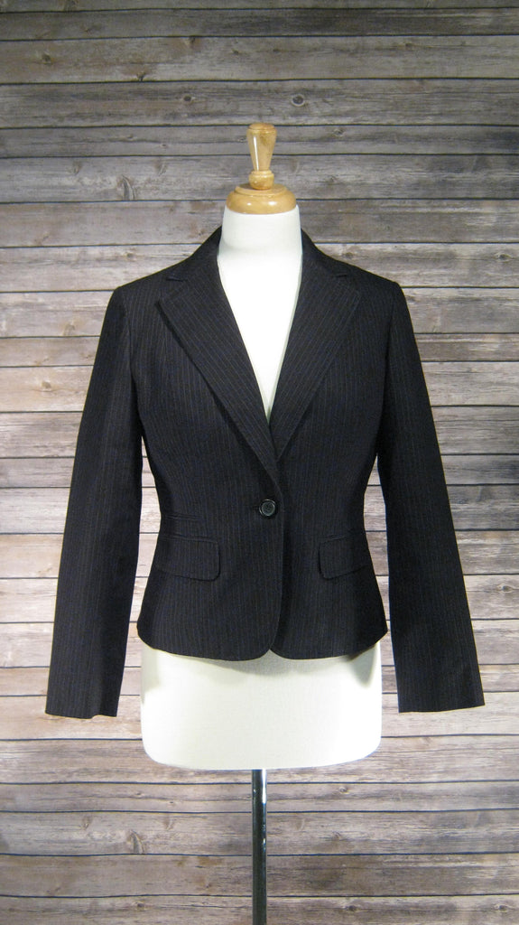 Ann Taylor Loft Black with White Pinstripe Jacket Size 6 Petite
