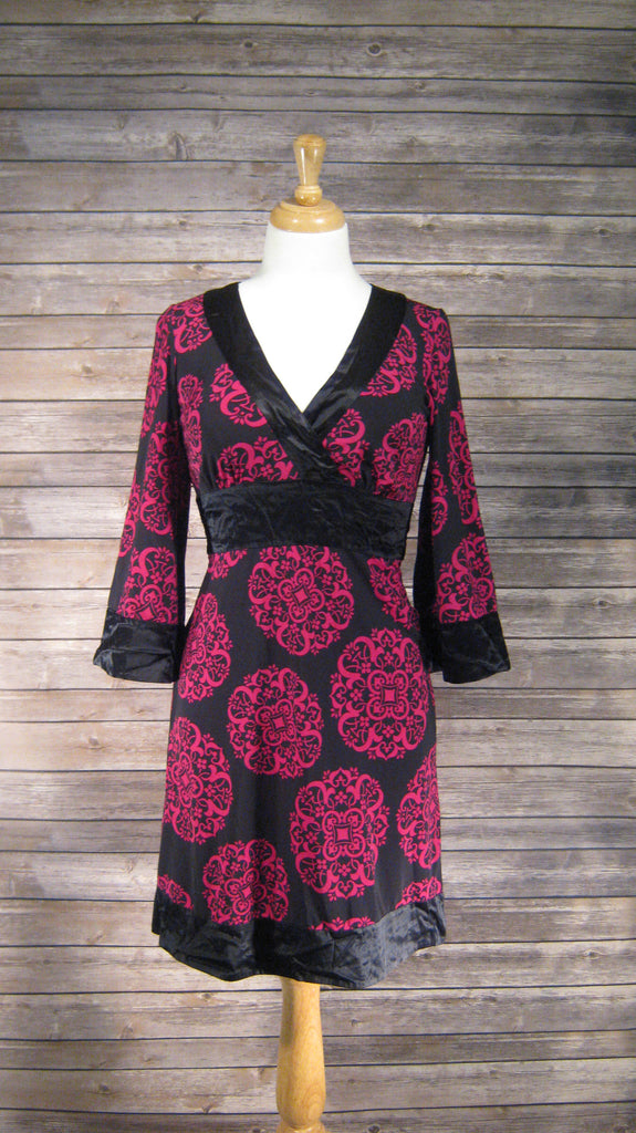 INC Fuschia/Black Long Sleeve Dress Size 3