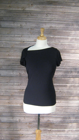 Banana Republic Black Shirt with Assymetrical Neckline Size Xsmall