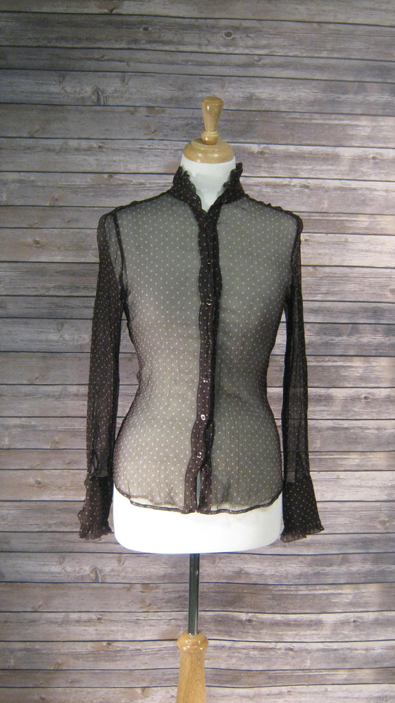 J Crew Chocolate Brown with Khaki Dots Sheer Silk Blouse Size 2