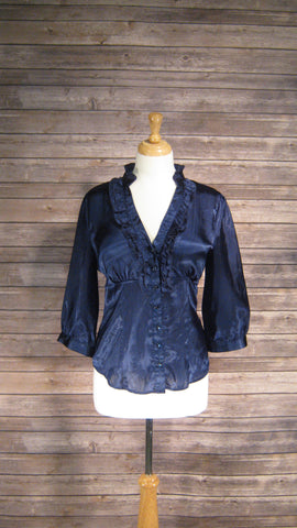 AB Studio metallic navy medium size blouse