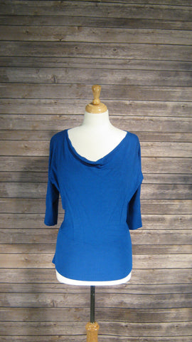 AB Studio Small royal blue cowl neck sweater
