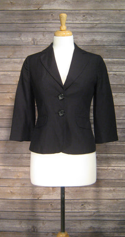 Ann Taylor Black Button Crop Jacket 3/4 Sleeve Size 2Petite