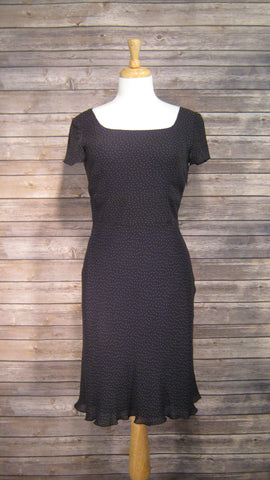 Ann Taylor Black with tiny Brown Polka Dots Knee Length Dress Size 6
