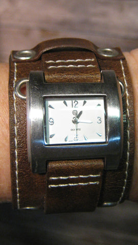 Espresso Brown Leather with Silver Grommets & Watch with White Face