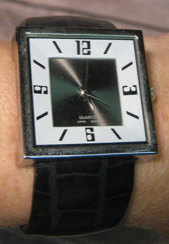 Black Croc-skin with Silver Square Face  Cuff Watch
