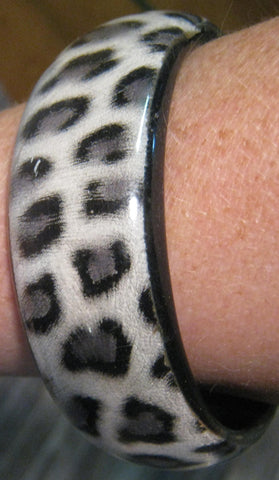 Black, Gray, & White Leopard Print Bangle