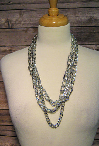 Three Strand Polished Silver Link Necklace