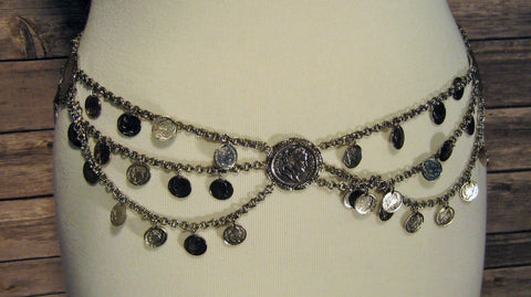 Silver Chain Belt with Tiers & Coin Detail