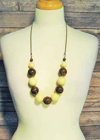 Brown & Cream Large Bead Necklace