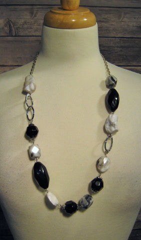 Black, White, & Silver Multi Size Bead Necklace