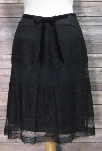 Ann Taylor Black Lace Skirt Size 4P