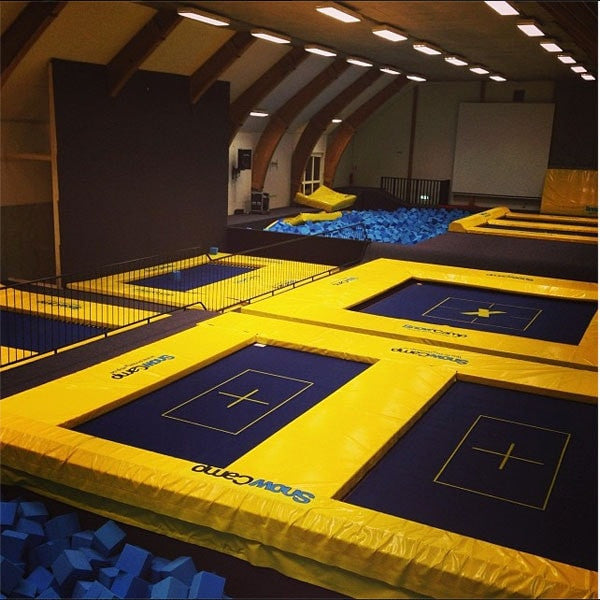 A professional trampoline indoor facility with several MaxAir trampolines installed