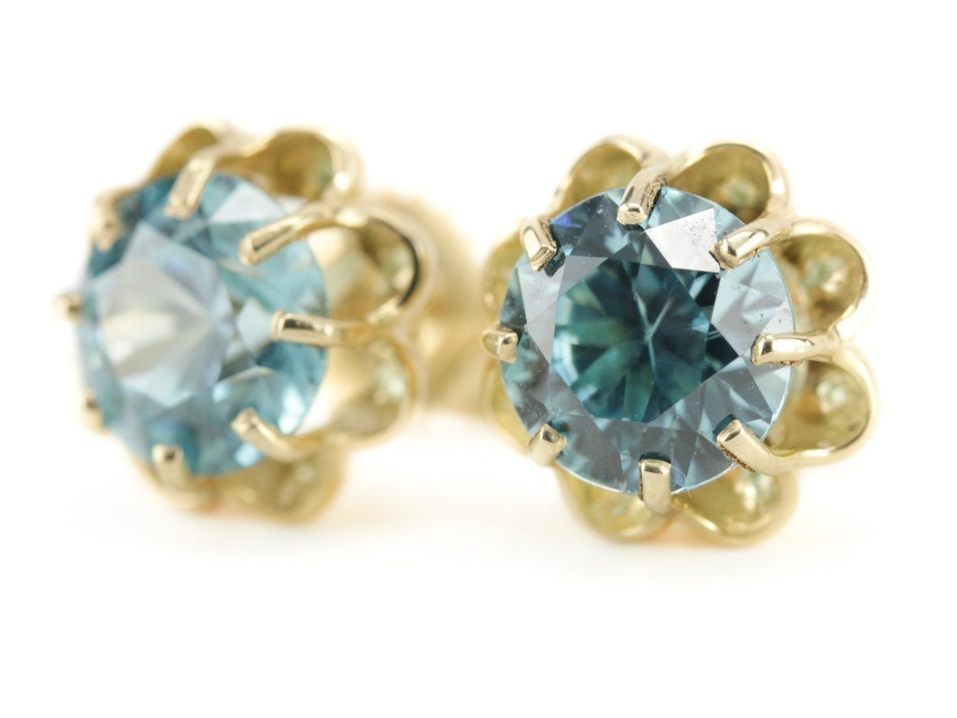 d4b7149a0 The Grace Blue Zircon Stud Earrings in 14K Green Gold - Elizabeth Henry