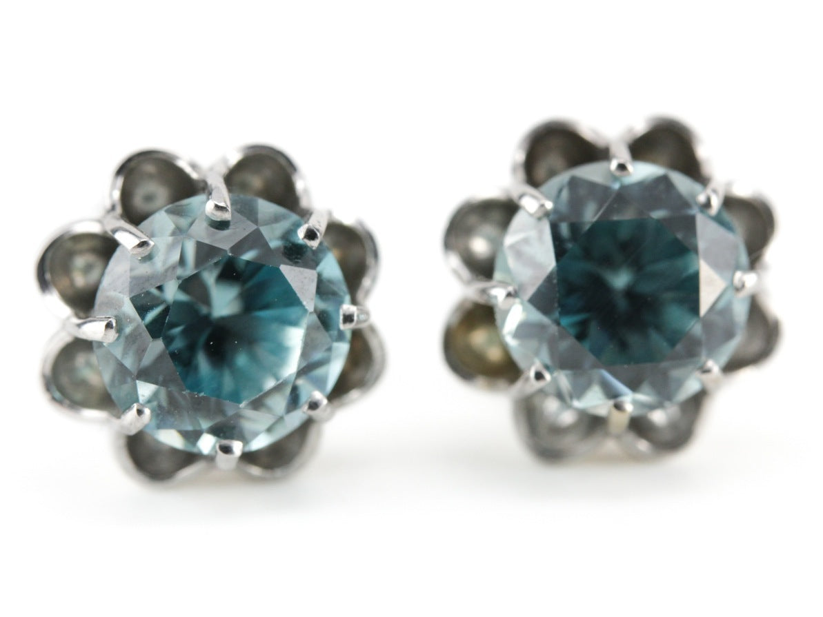 24023eea5 The Grace Blue Zircon Stud Earrings in 14K White Gold - Elizabeth Henry