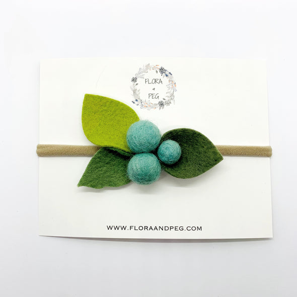 Felt Flower Headband | Aqua Berries