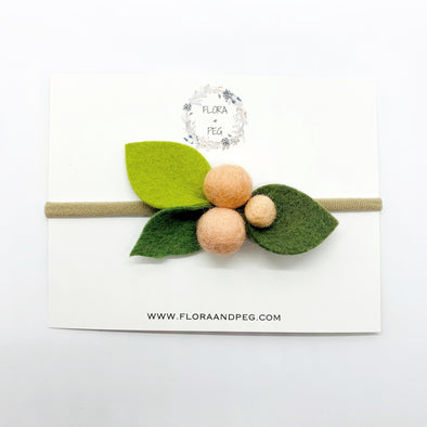 Felt Flower Headband | Peach Berries