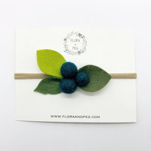Felt Flower Headband | Turquoise Berries