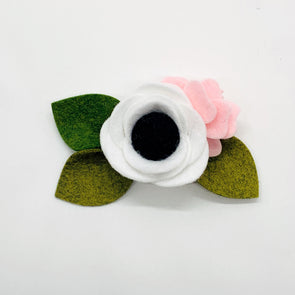 Felt Flower Headband | Black & White Petite
