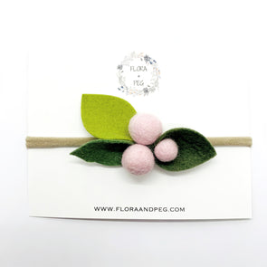Felt Flower Headband | Pale Pink Berries