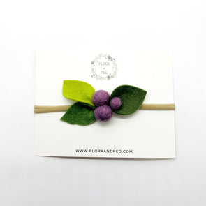 Felt Flower Headband | Eggplant Berries