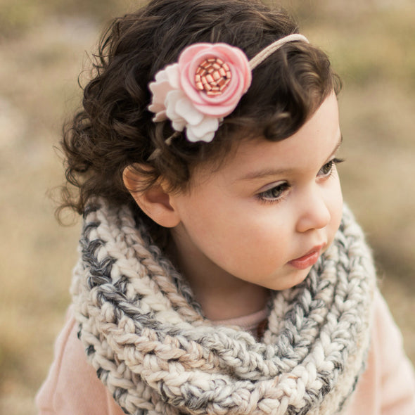 Rose Gold Petite Felt Flower Headband