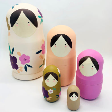 Floral Nesting Dolls - Set of 5