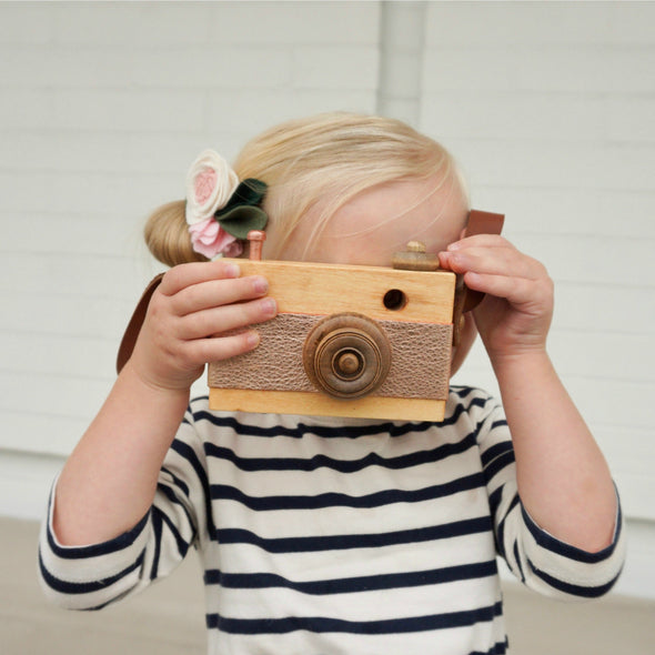 Wood Toy Camera - ROSE GOLD METALLIC
