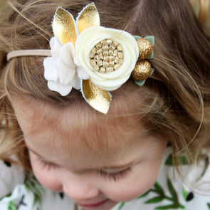Felt Flower Headband | Gold Glam