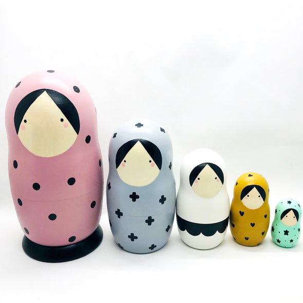 Nesting Dolls in Blush, Grey, White, Mustard, and Mint