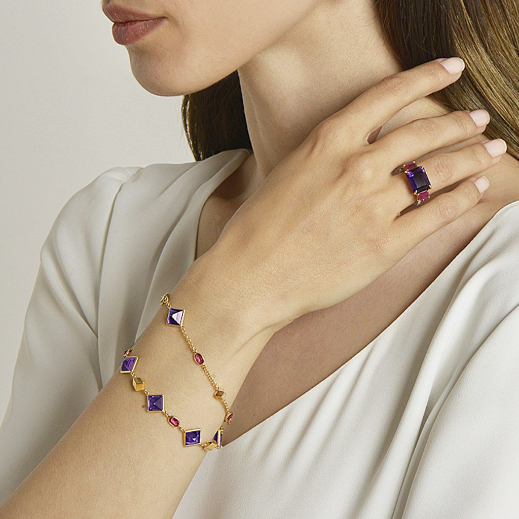 Amethyst and Ruby 'Florentine' Station Bracelet - Paolo Costagli - 2