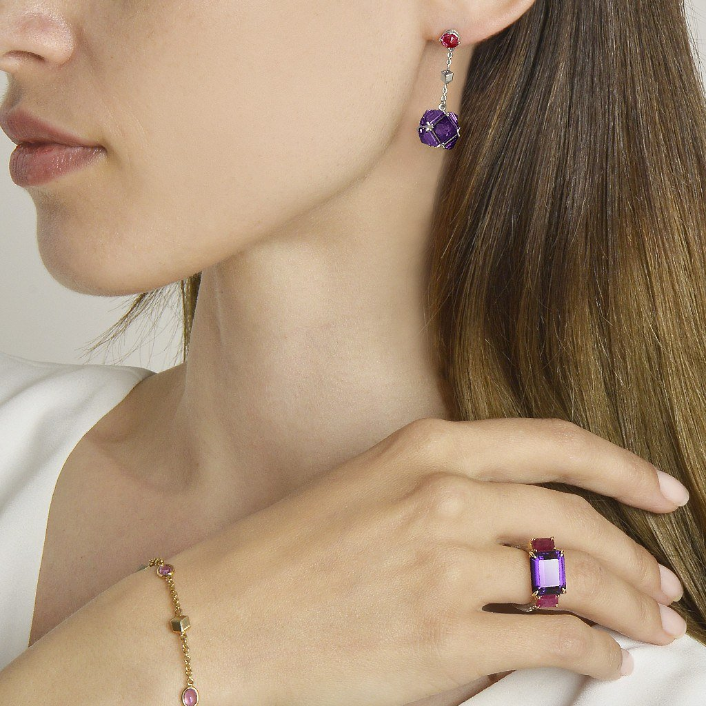 Ruby and Amethyst 'Very PC'® Earrings, Petite - Paolo Costagli - 3