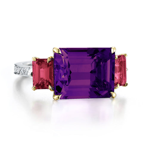 Amethyst and Ruby Florentine Ring - Paolo Costagli