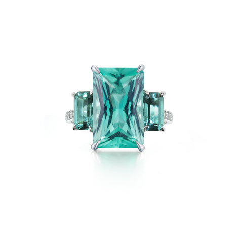 Princess Cut Mint Tourmaline Ring - Paolo Costagli